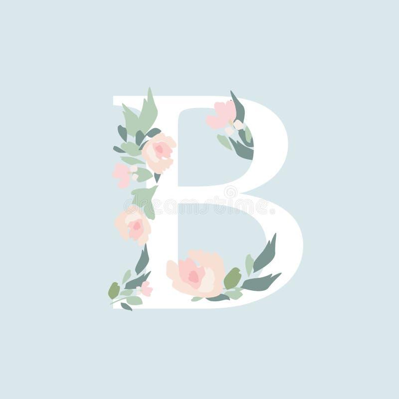 Alfabeto floral - letra Ð con la composición del ramo de las flores stock de ilustración