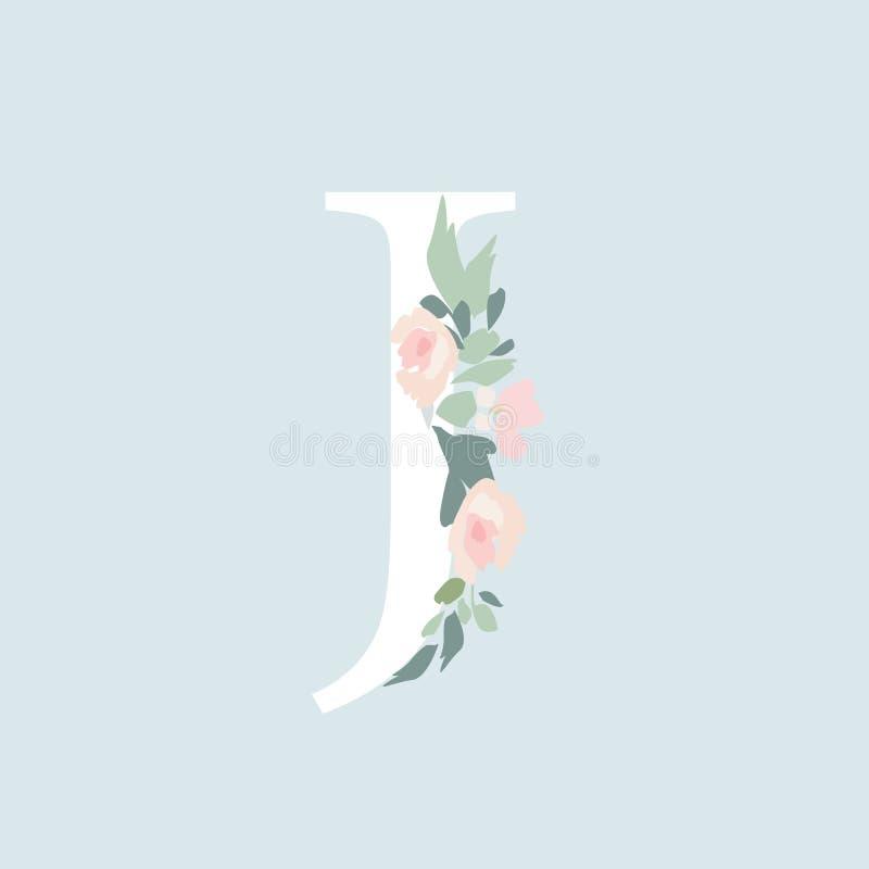 Alfabeto floral - letra J con la composición del ramo de las flores libre illustration