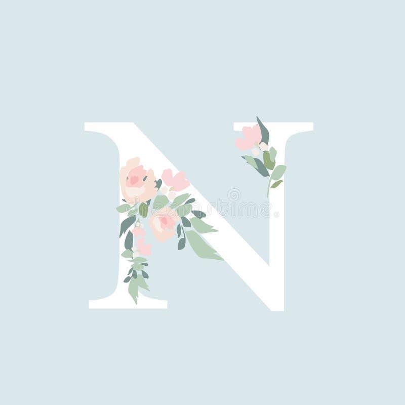 Alfabeto floral - letra N con la composición del ramo de las flores M ilustración del vector