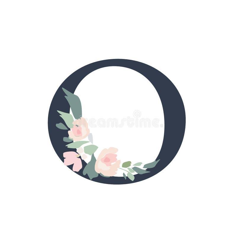 Alfabeto floral - letra O con la composición del ramo de las flores M stock de ilustración