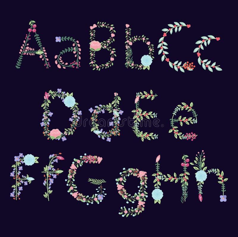 Alfabeto floreale di vettore d'annata di stile con le lettere maiuscole e minuscole illustrazione vettoriale