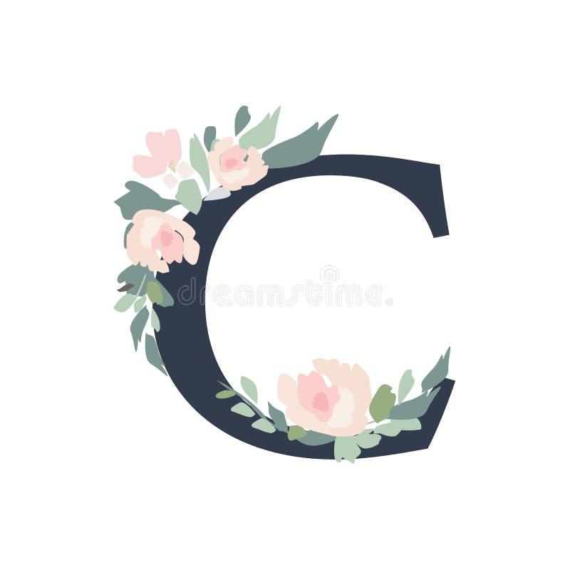 Alfabeto floreale - lettera C con la composizione nel mazzo dei fiori illustrazione di stock