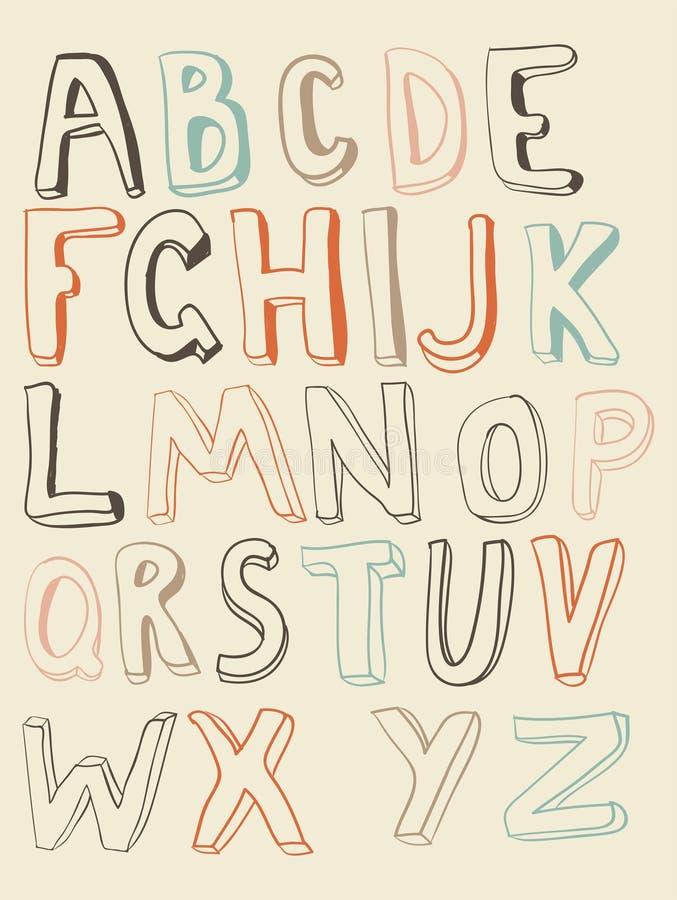 Alfabeto funky convexo no vetor ilustração royalty free