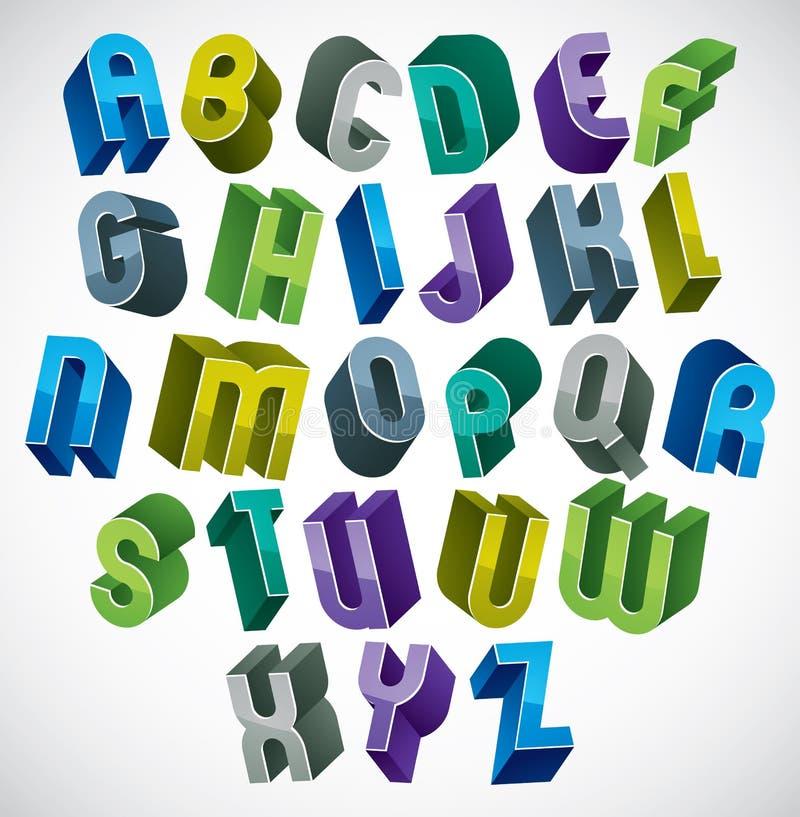 alfabeto futurista das letras 3d coloridas feito com formas redondas ilustração stock