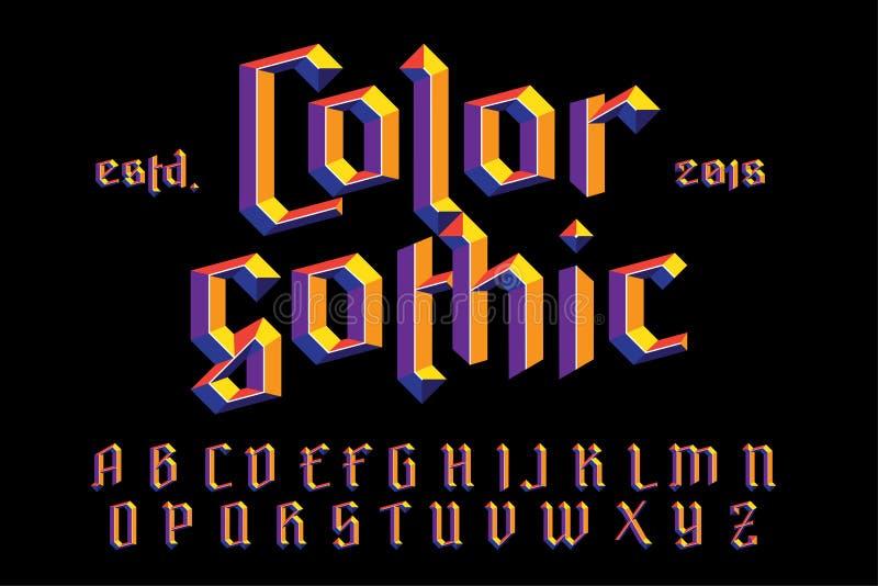 Alfabeto gótico da cor ilustração do vetor