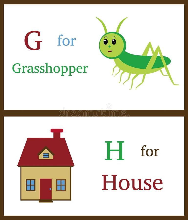 Alfabeto G e H ilustração royalty free