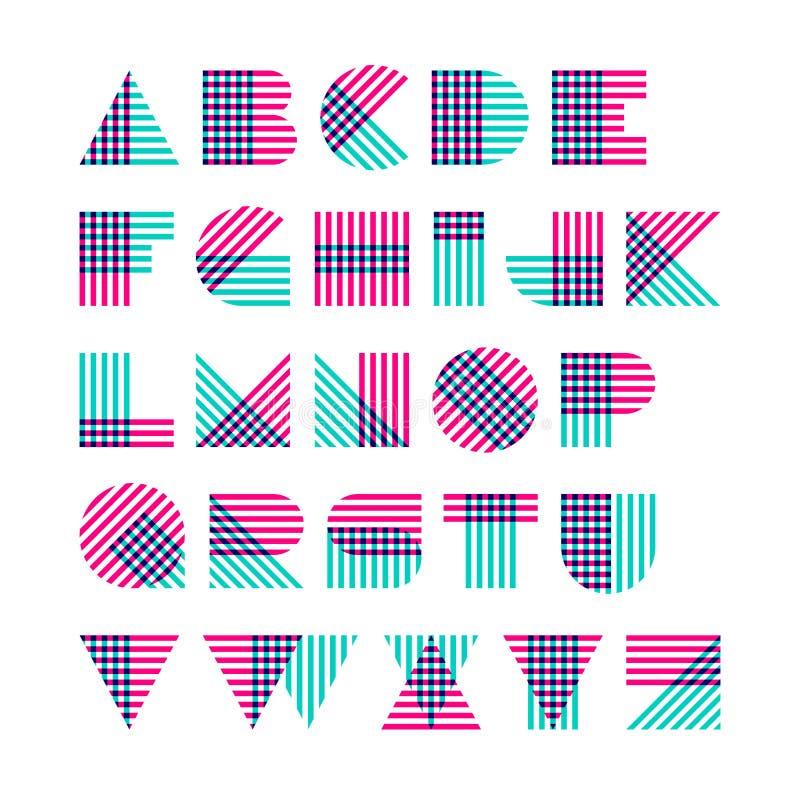 Alfabeto geométrico de las formas hecho de líneas cruzadas ilustración del vector