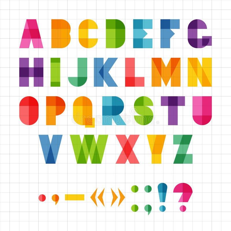 Alfabeto geométrico engraçado colorido com efeito da sobreposição, ilustração fotos de stock