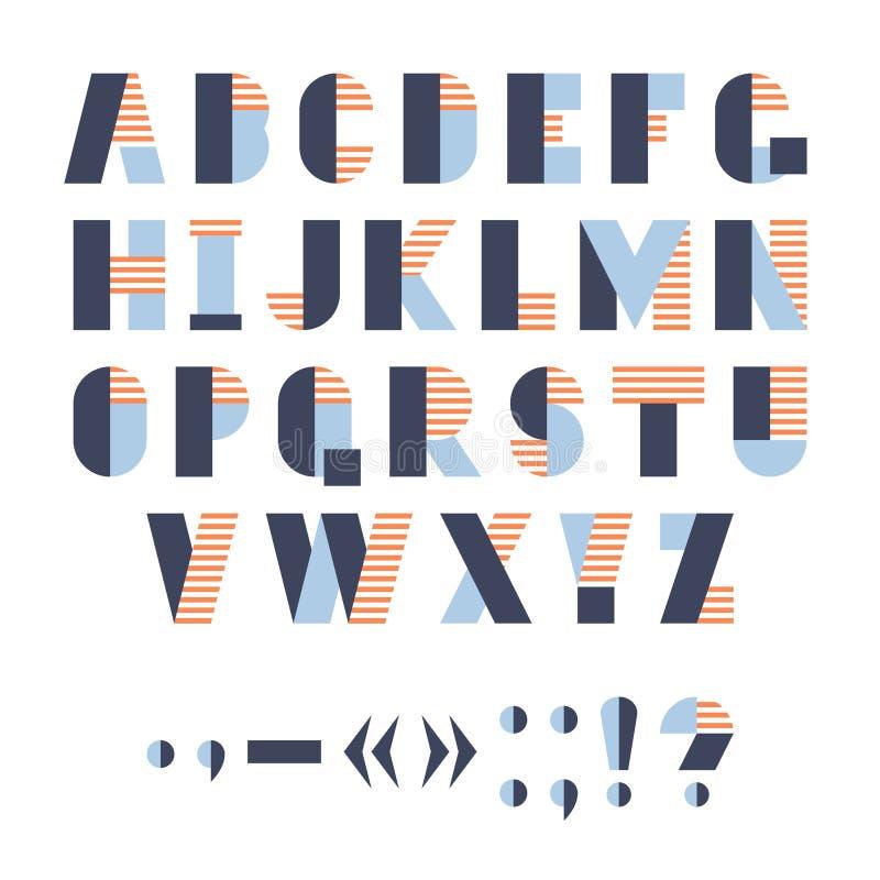 Alfabeto geométrico engraçado para o cartaz ou o logotipo, ilustração do vetor fotografia de stock royalty free