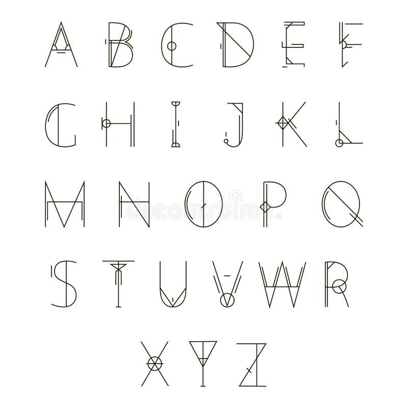 Alfabeto geométrico moderno ilustração do vetor
