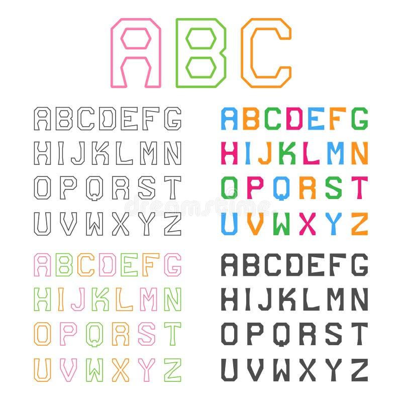 Alfabeto geometrico Linea fonte ABC grafico Vettore illustrazione vettoriale