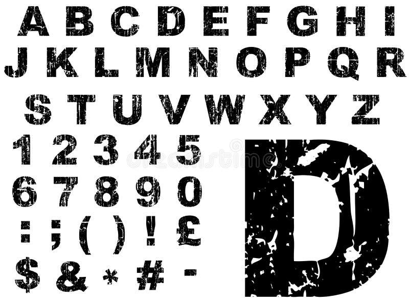 Alfabeto gordo de Grunge ilustração do vetor