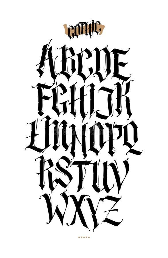 Alfabeto gotico e inglese Insieme di vettore Fonte per gli scopi personali e commerciali del tatuaggio, Elementi isolati su fondo illustrazione di stock