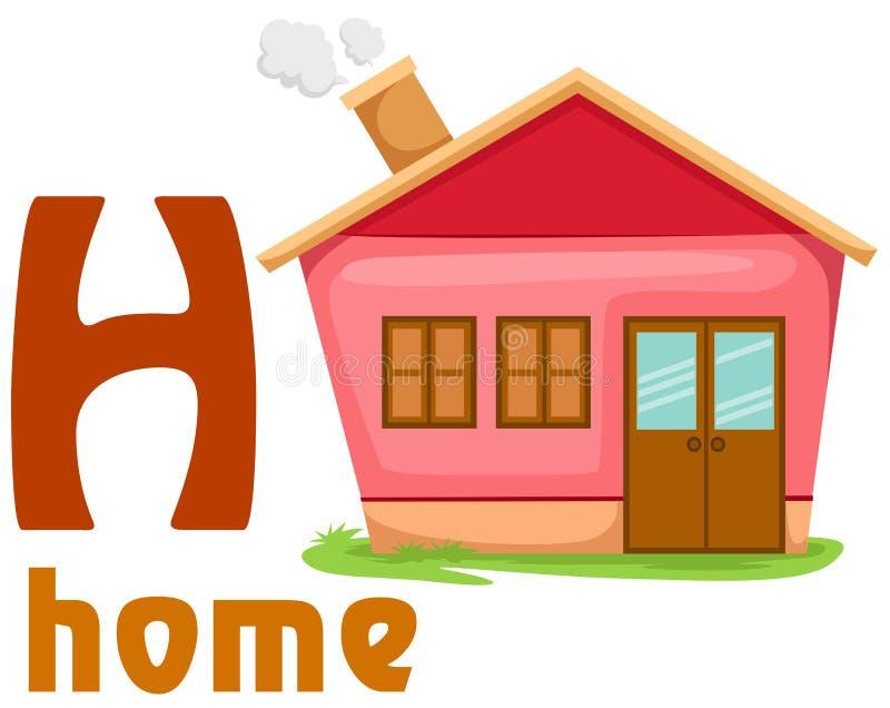 Alfabeto H com HOME ilustração royalty free