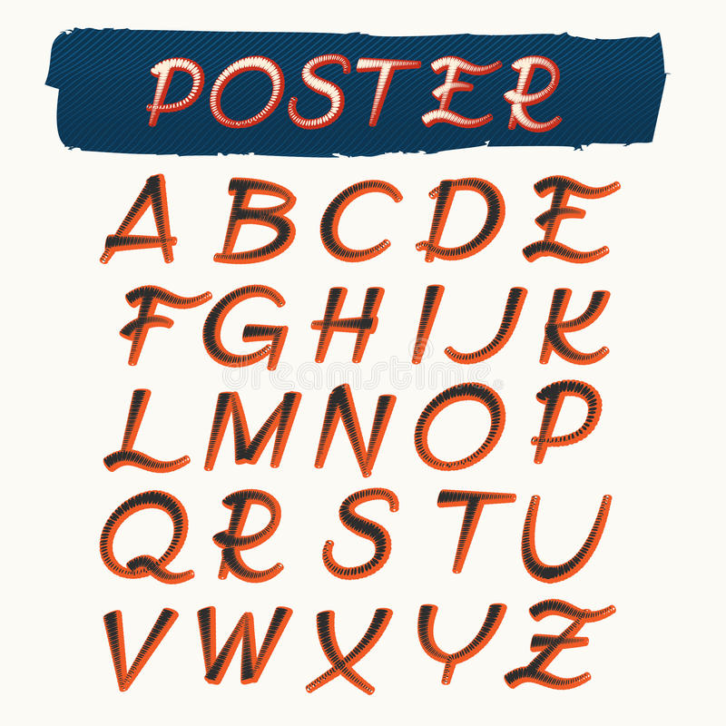 Alfabeto Handcrafted nel retro stile del manifesto royalty illustrazione gratis