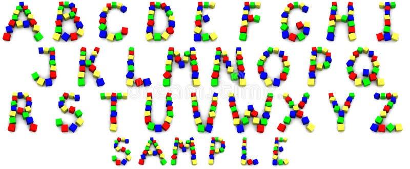 Alfabeto hecho de cubos ilustración del vector