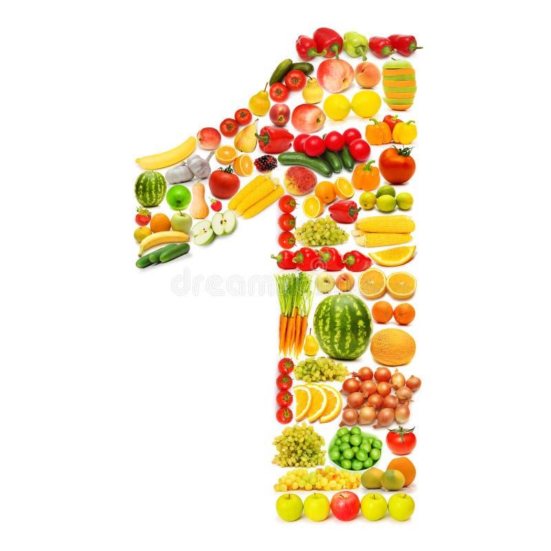Alfabeto hecho de frutas y verdura fotos de archivo