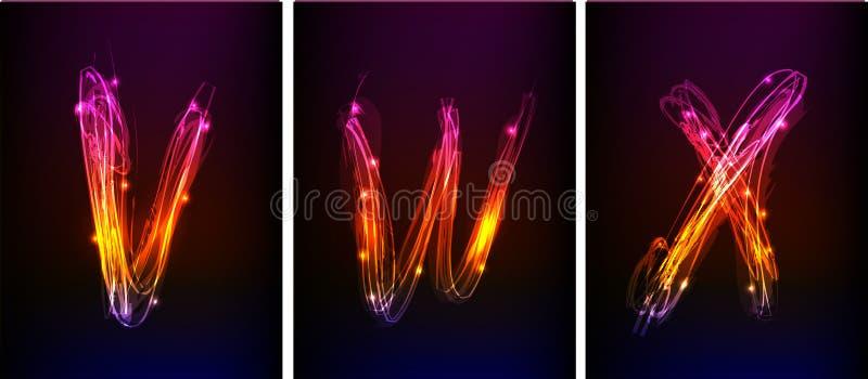 Alfabeto hecho de la luz de neón ilustración del vector