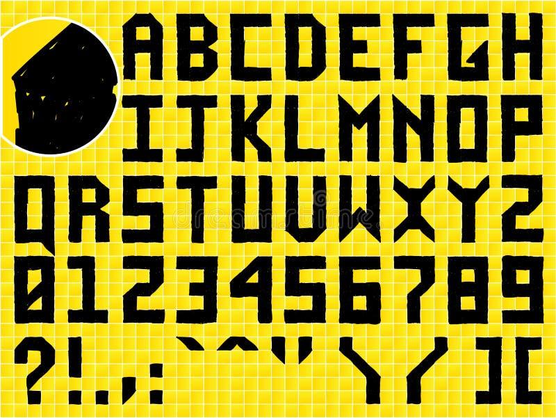 Alfabeto hecho a mano del Doodle ilustración del vector
