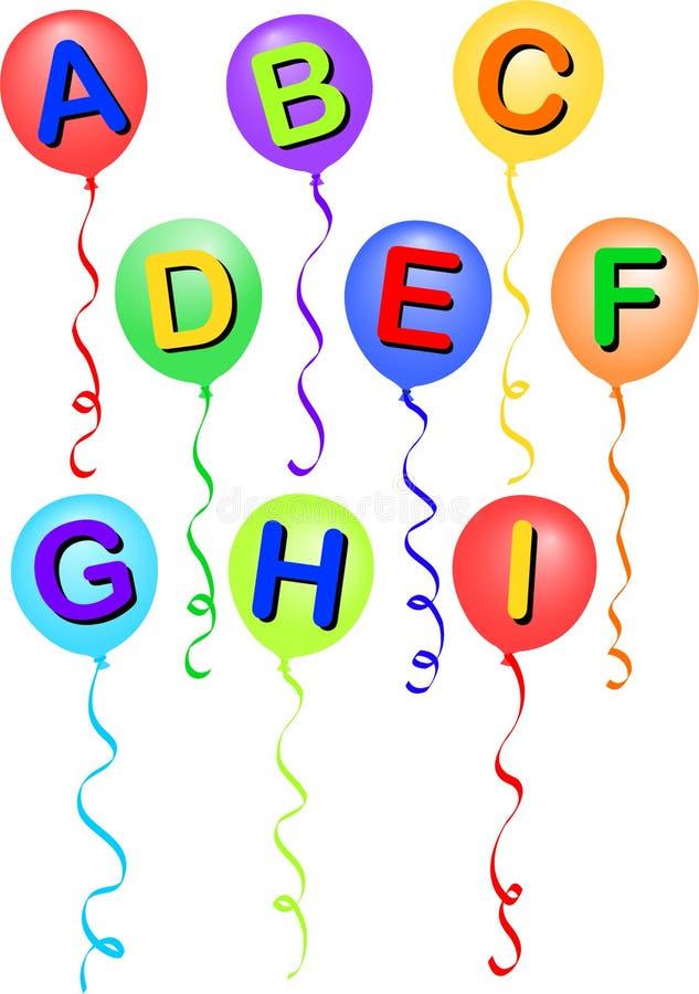 Alfabeto A-I/eps do balão ilustração royalty free