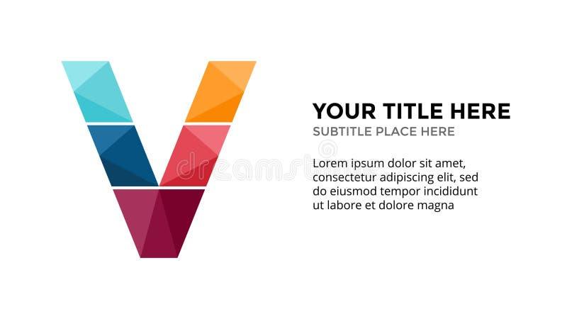 Alfabeto infographic, plantilla del vector de la diapositiva de la presentación Concepto del negocio con la letra V y lugar para  stock de ilustración