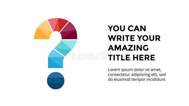 Alfabeto infographic, plantilla del vector de la diapositiva de la presentación Concepto del negocio con la muestra de la pregunt stock de ilustración