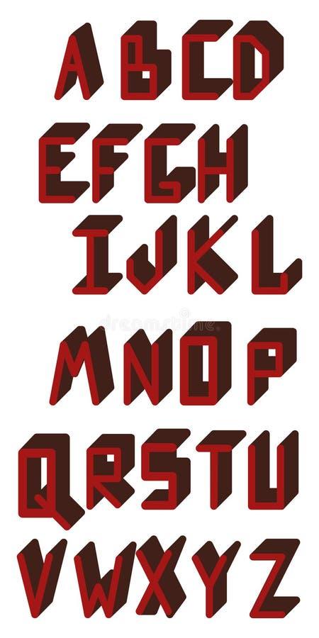 Alfabeto inglés ABC Aislado en blanco stock de ilustración