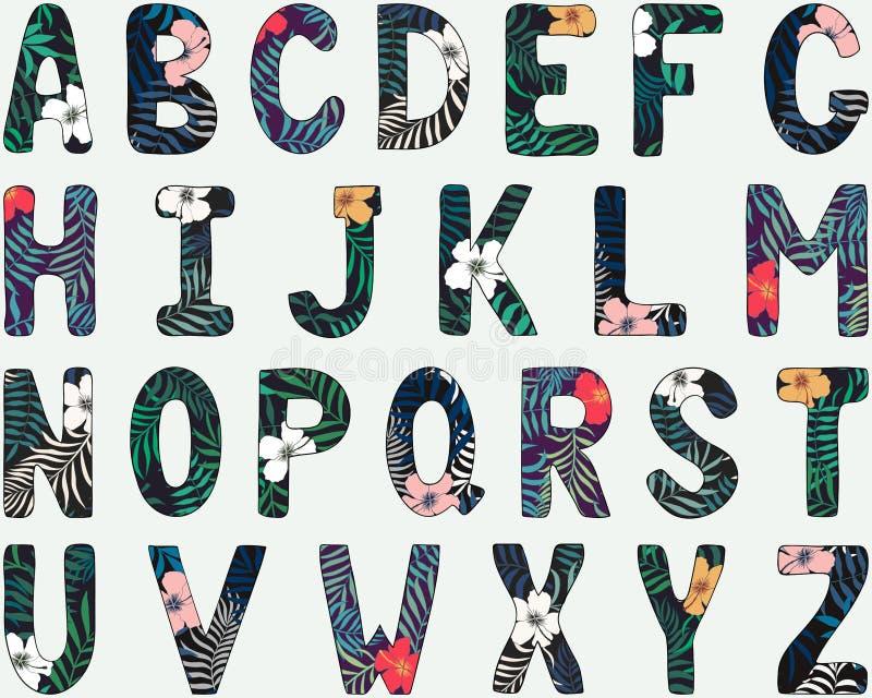 Alfabeto inglés Aislado en blanco Fuente tropical dibujada mano ilustración del vector