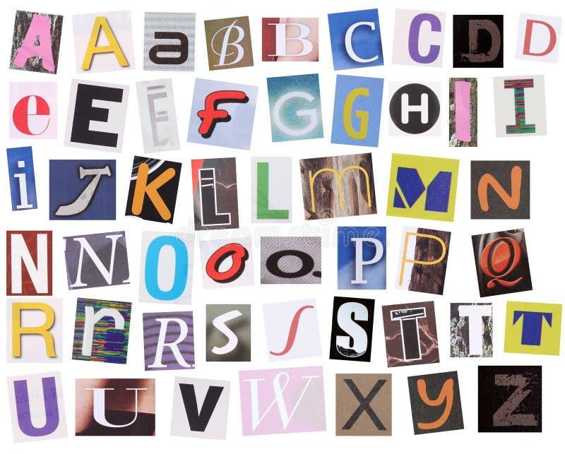 Alfabeto inglés cortado de la revista imagen de archivo libre de regalías