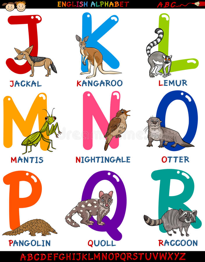 Alfabeto inglés de la historieta con los animales ilustración del vector