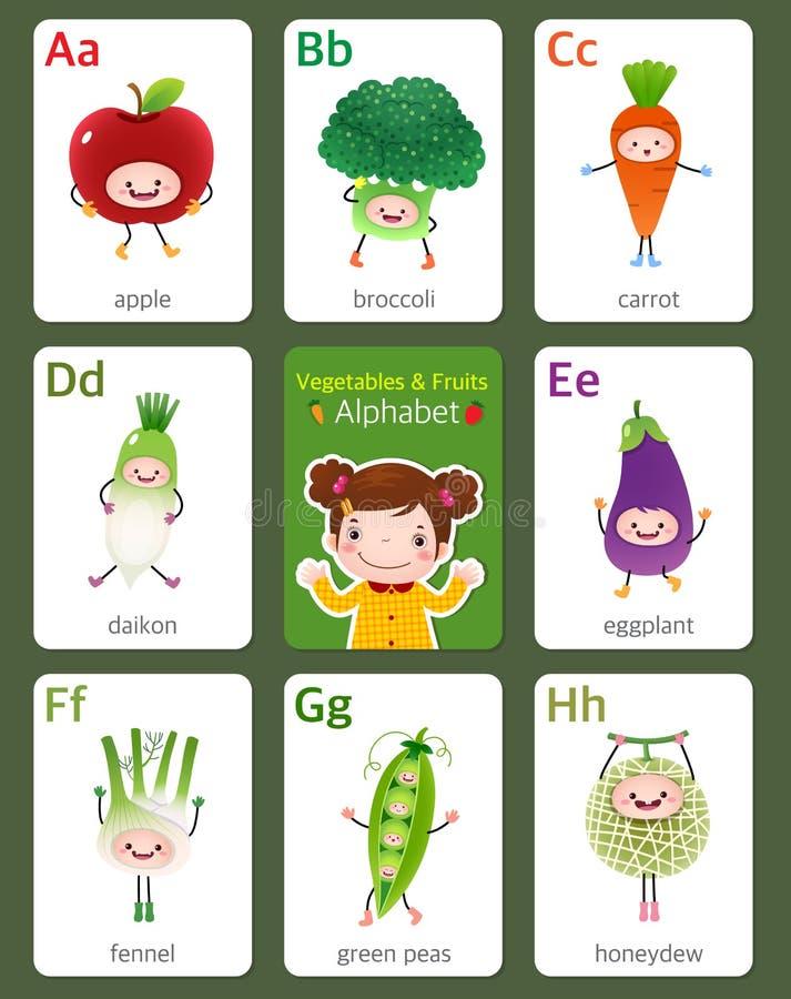 Alfabeto inglés del flashcard imprimible de A a H con las frutas y ilustración del vector