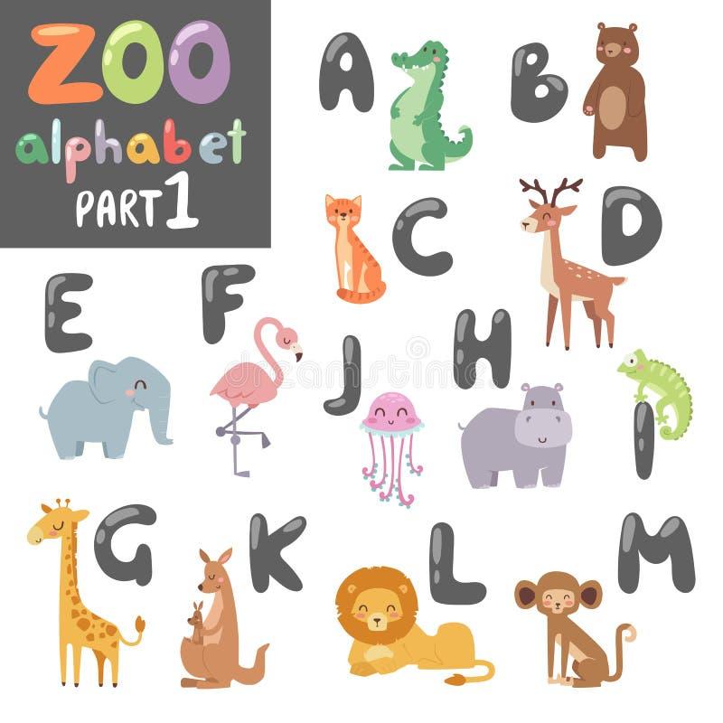 Alfabeto inglés del parque zoológico lindo del vector con el ejemplo colorido de los animales de la historieta stock de ilustración