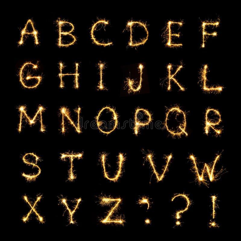 Alfabeto inglés hermoso de las letras ardiendo de la bengala ilustración del vector