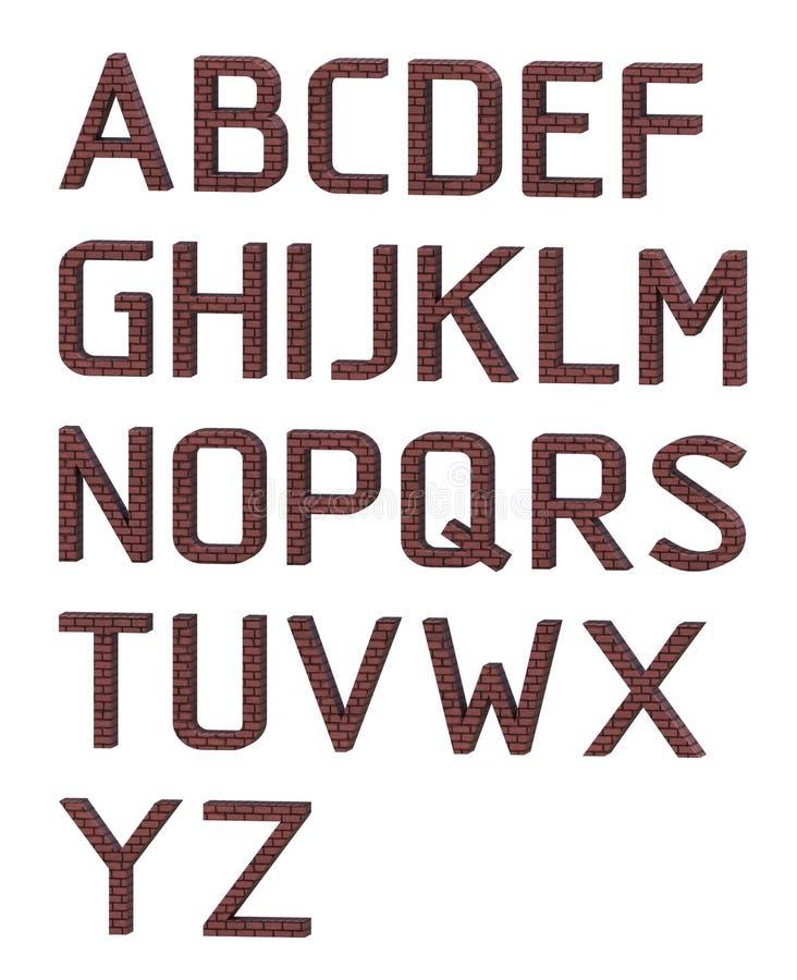 Alfabeto inglés Las letras se hacen de ladrillos rojos representación 3d ilustración del vector