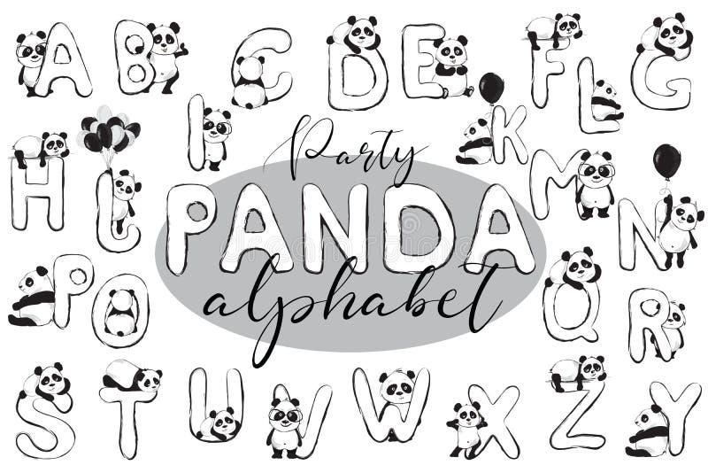 Alfabeto inglés lindo de los osos de panda con los animales A-Z Vector stock de ilustración