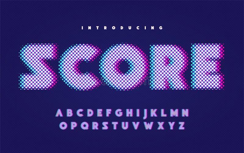 Alfabeto inglés mayúsculo del estilo cómico con efecto de la interferencia ilustración del vector