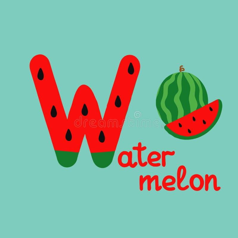 Alfabeto inglés para la educación de los niños, letra W mayúscula con palabra Alfabeto colorido de ABC de los niños lindos en est stock de ilustración