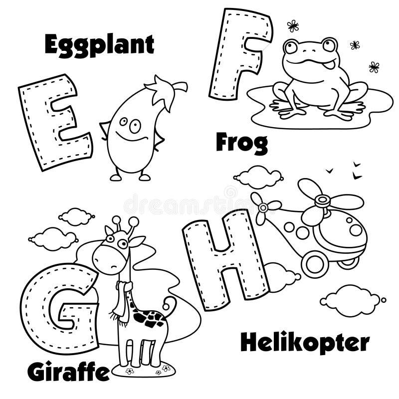 Alfabeto inglés y las letras E, F, G y H stock de ilustración