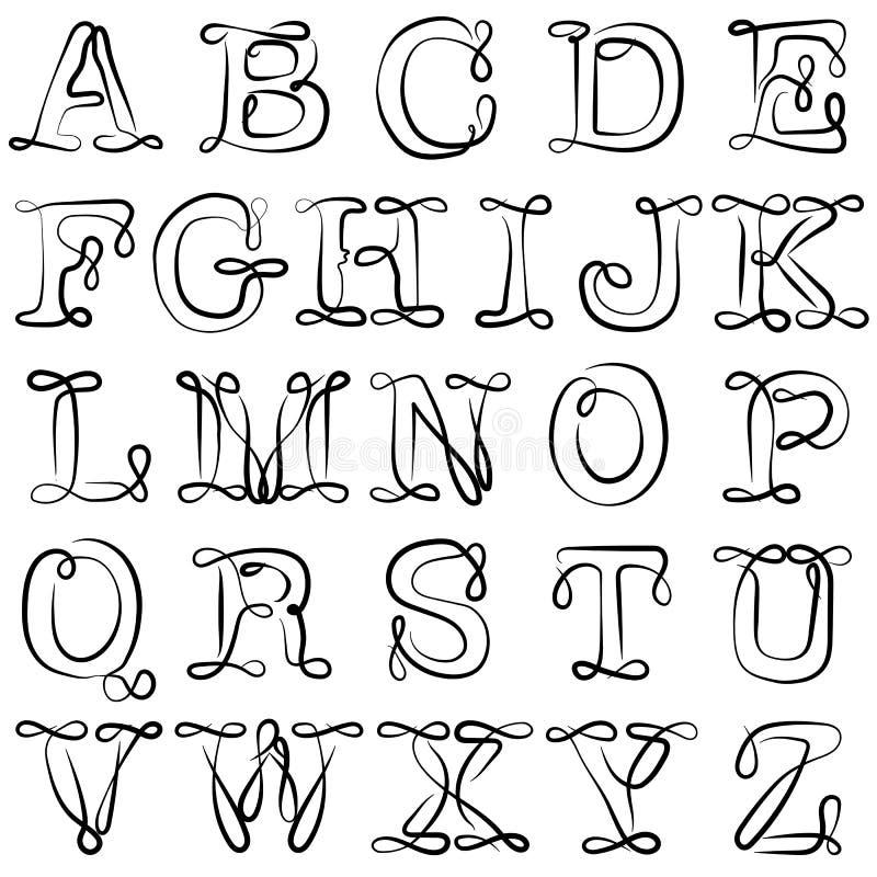 Alfabeto inglês ABC As letras inglesas são pretas no branco O alfabeto Latin ilustração do vetor