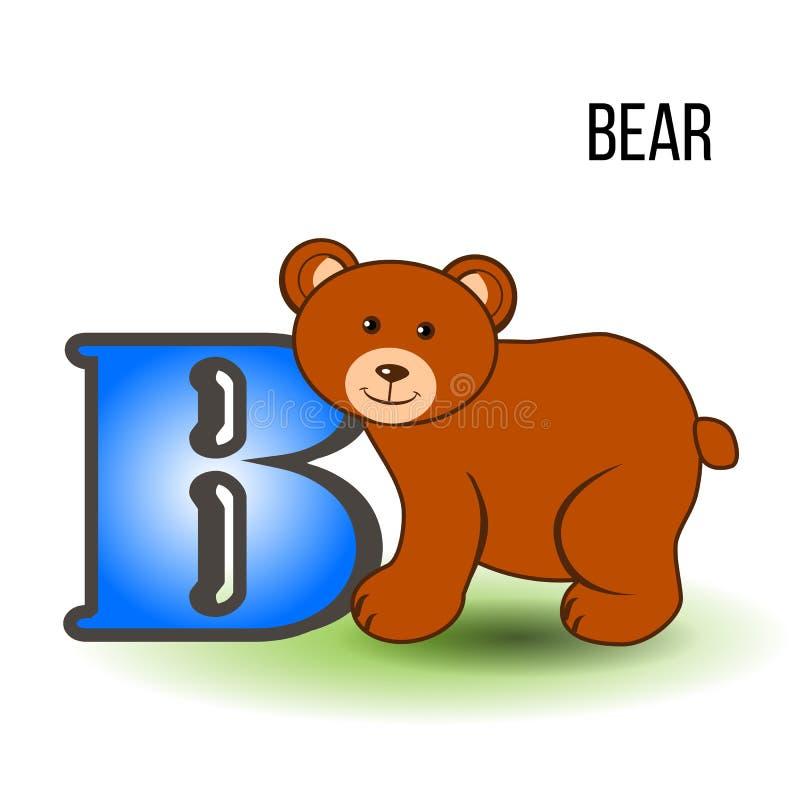Alfabeto inglês B do jardim zoológico bonito com urso dos desenhos animados, animal da ilustração de cor do vetor isolado no fund ilustração stock