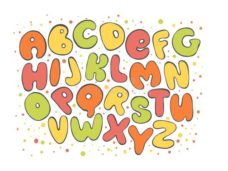 Alfabeto inglês brilhante do ABC Letra colorida Os desenhos animados caçoam a fonte para o projeto ilustração royalty free