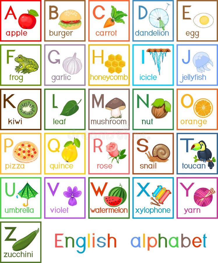 Alfabeto inglês com imagens e títulos para a educação das crianças ilustração royalty free