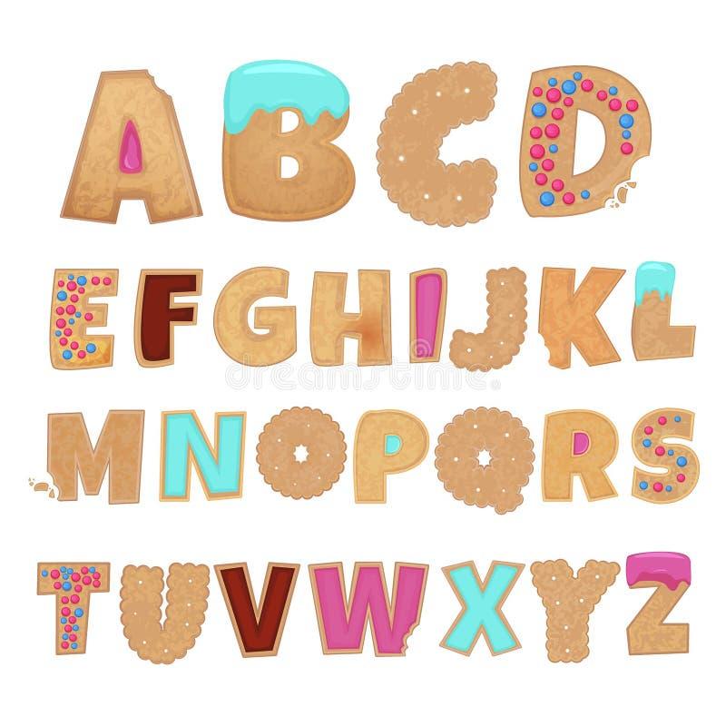 Alfabeto inglês das cookies ilustração do vetor