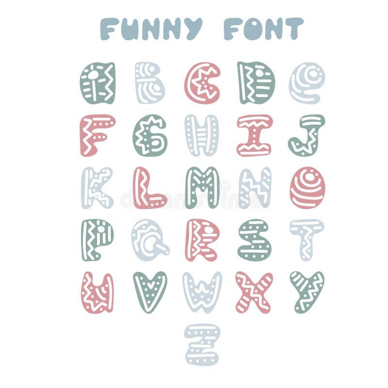 Alfabeto inglês desenhado à mão engraçado ilustração royalty free