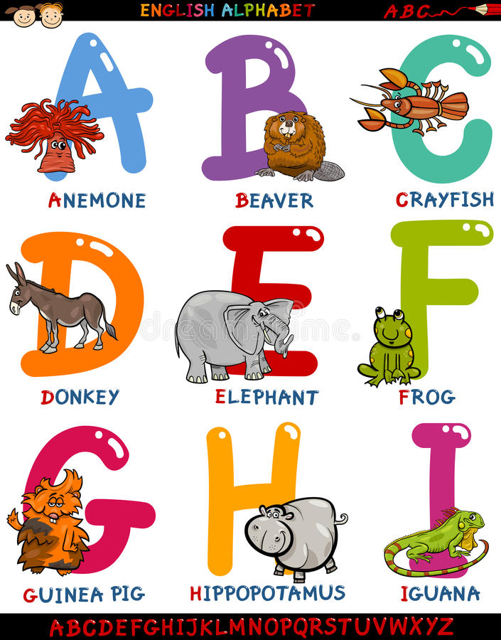 Alfabeto inglês dos desenhos animados com animais ilustração royalty free