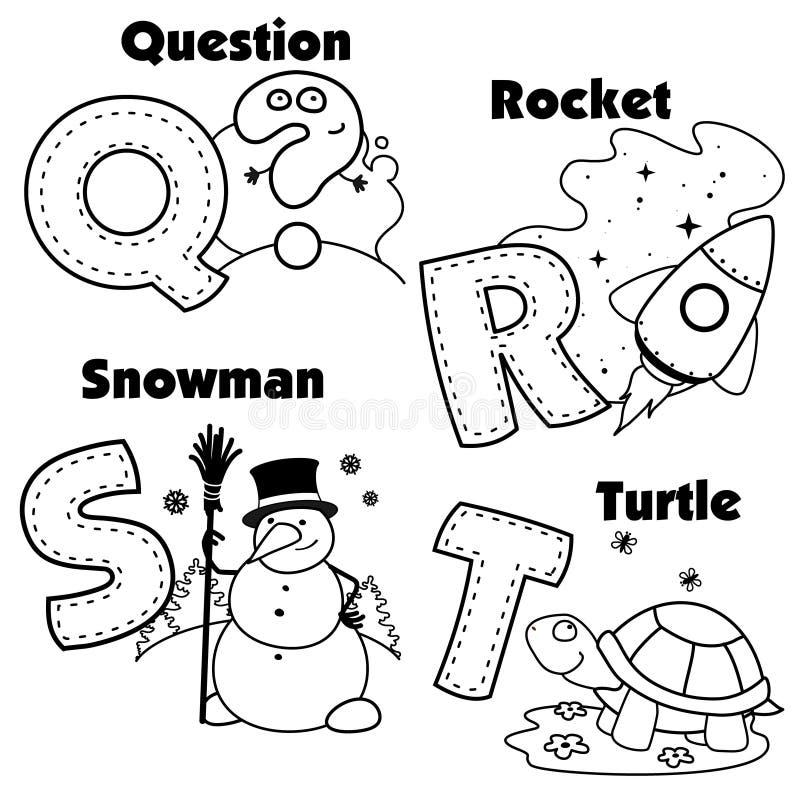 Alfabeto inglês e as letras Q, R, S e T ilustração royalty free