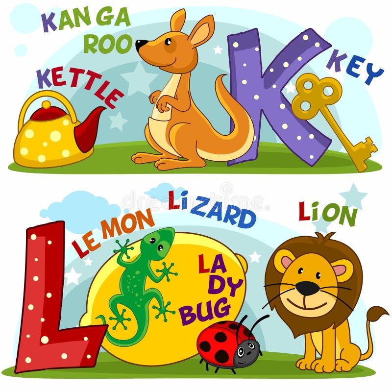 Alfabeto inglês K L ilustração stock