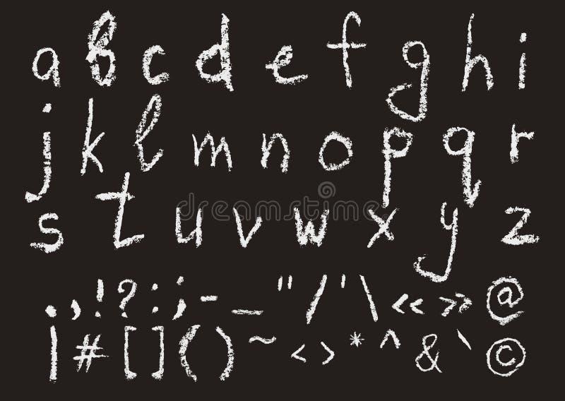 Alfabeto inglês lowercase escrito mão do giz ilustração stock