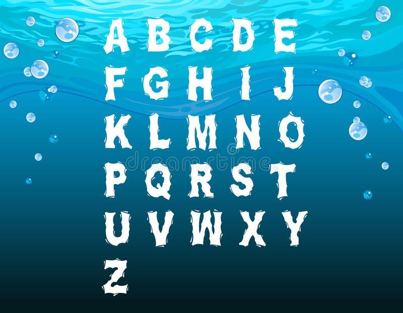 Alfabeto inglês no estilo subaquático ilustração do vetor