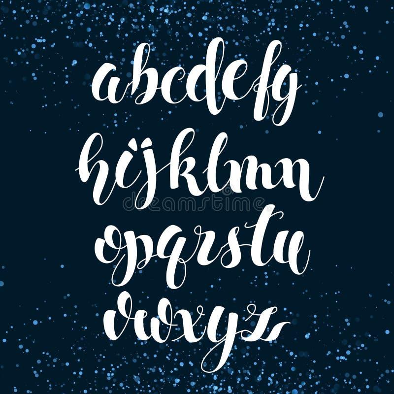 Alfabeto inglês Rotulação escovada moderna ilustração stock